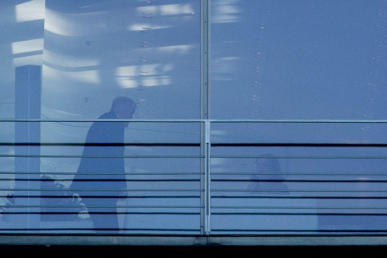 Horst Seehofer (l.) en Andrea Nahles, partijvoorzitter van de SPD, voor het gesprek met Angela Merkel vanmiddag.