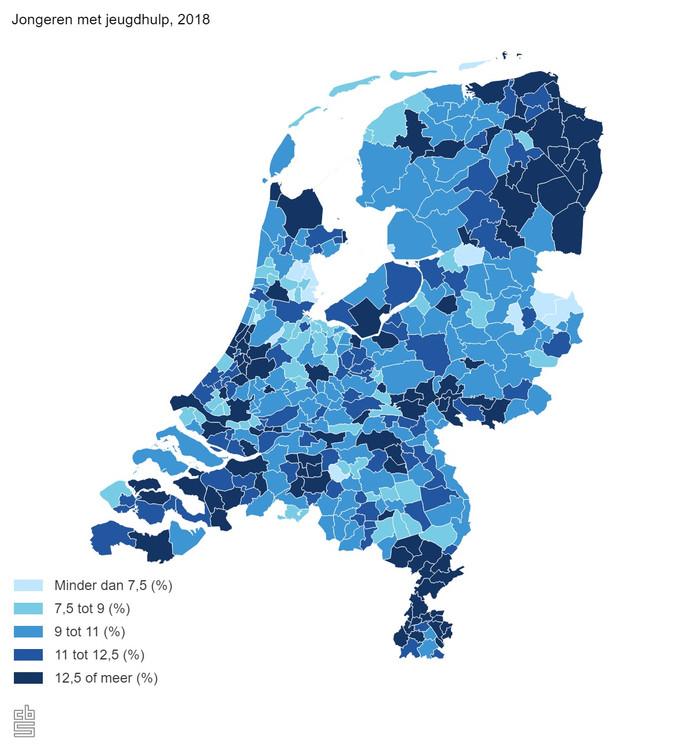 Een kaartje gebaseerd op CBS-cijfers over de jeugdhulp in Nederland.