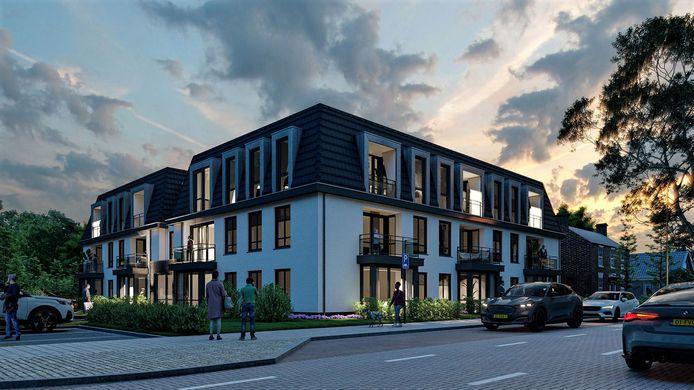 Het ontwerp voor de Gestelse Veste. Vijftien appartementen moeten hier komen.