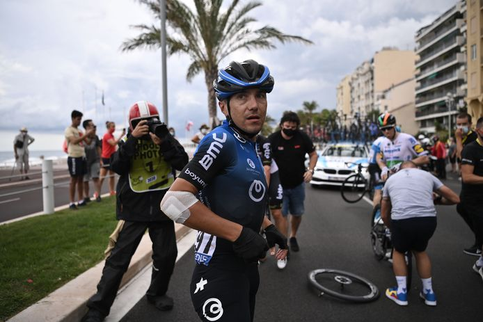 Pozzovivo na de beruchte crash in de eerste etappe.
