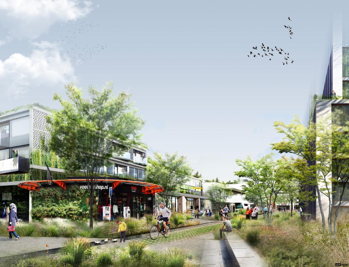 De Dr. Brabersstraat als groene woonomgeving. Dit is niet hoe het wordt, maar om een indruk te geven wat de gemeente Roosendaal qua sfeer bedoelt.