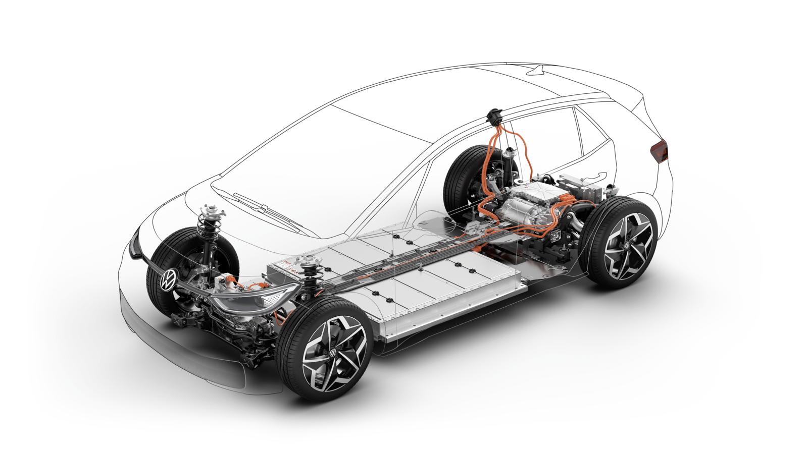In de technische basis van de Volkswagen ID.3 is goed te zien hoe de batterijpakketten in de bodem zijn verwerkt