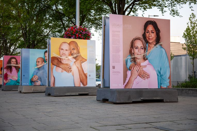 De bekladde foto's van de expositie 'Legale Liefde'.   Beeld Ernst Coppejans