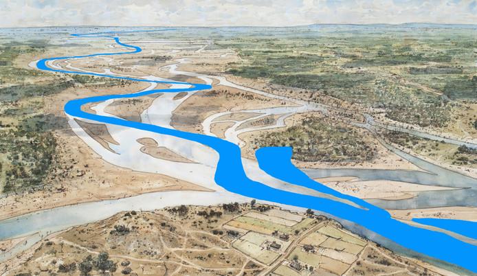 Op verzoek tekenende Peter Paul Hattinga Verschure de IJssel in, zoals die nu stroomt. De basis vormt zijn weergave van het IJssellandschap rond het jaar 750.