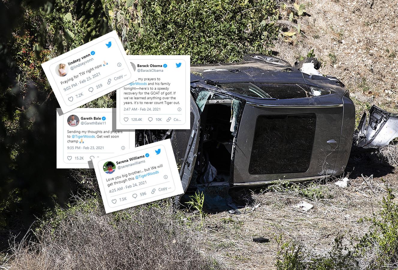 Het wrak van de auto van Tiger Woods. Inzetjes: tweets van bekenden die hem een hart onder de riem steken.