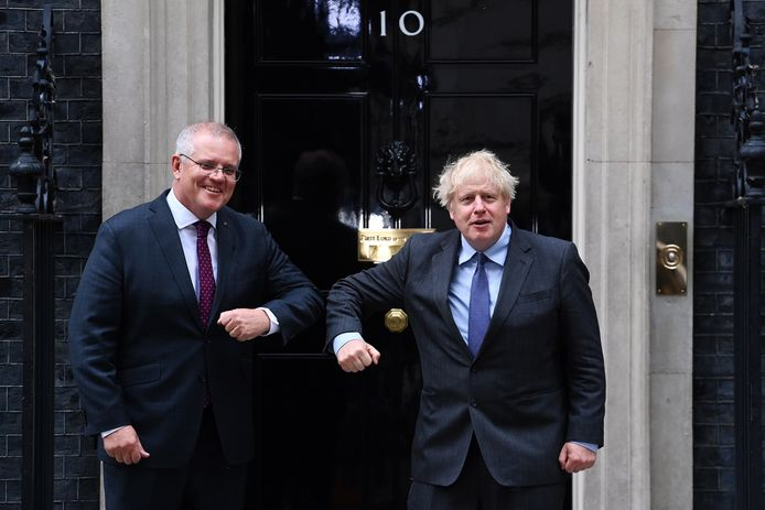 De Britse premier Boris Johnson en de Australische premier Scott Morrison.