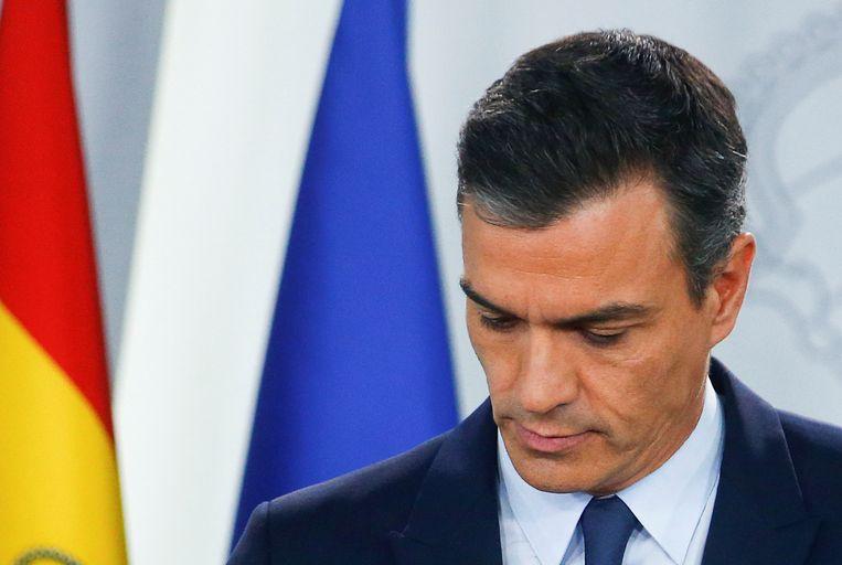 Spaans premier Pedro Sanchez: 'Andere partijen hebben het ons onmogelijk gemaakt.' Beeld REUTERS