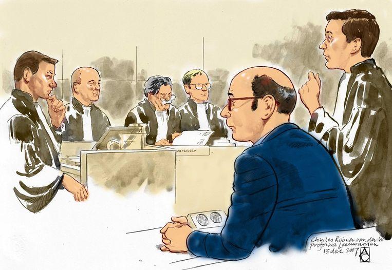 Charles van der W.  tijdens de behandeling van de zaak over de schietpartij bij Thialf in 2017. Beeld ANP