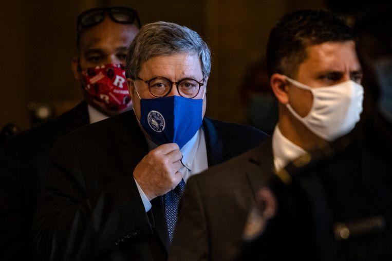 Justitieminister Bill Barr na een meeting in de Senaat, in november. Beeld Getty Images