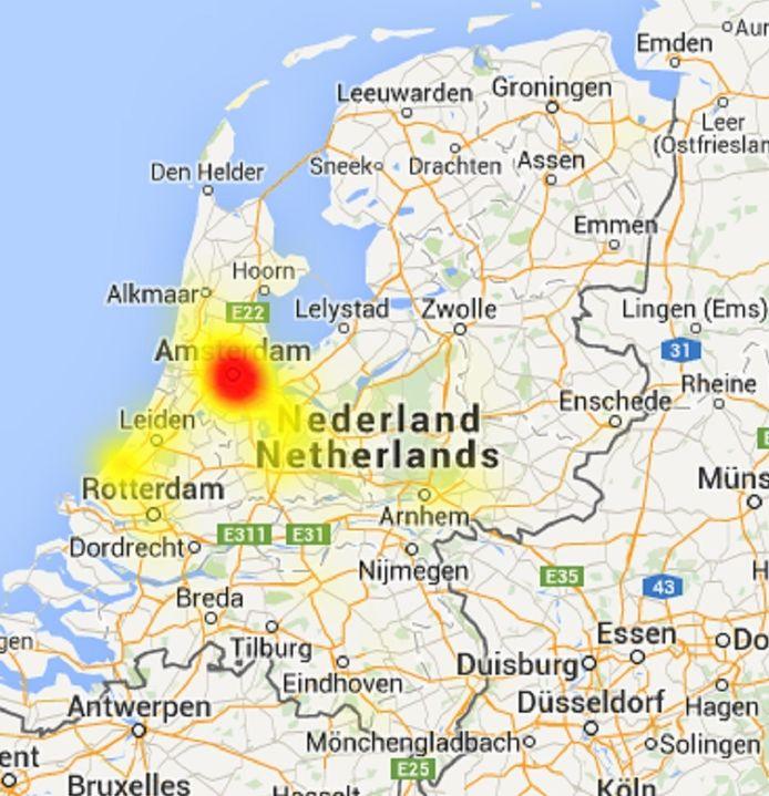 De storing is vooral gecentreerd rondom Amsterdam