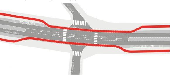 Het kruispunt van de Herentalsebaan met de Hofstraat en Vogelzang zoals het vandaag is, met fietspaden die naar de rijweg buigen ter hoogte van de zijstraten.