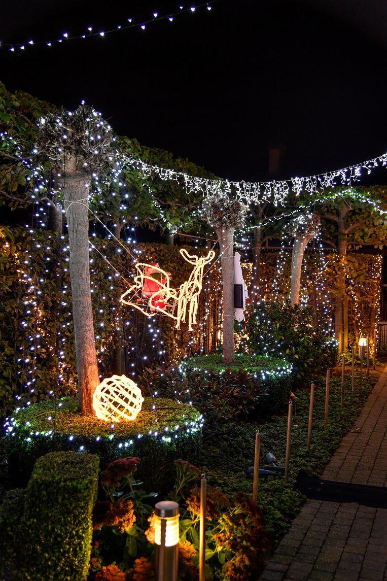 Alle bomen en struiken in de tuin hangen vol met lichtjes en lichtgevende slingers.