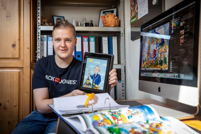 Leroy Oude Holtkamp (21) tekent de meest prachtige cartoons én…praalwagens