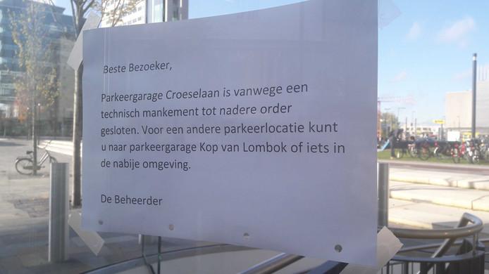 Parkeergarage Croeselaan in Utrecht is tijdelijk dicht door een technisch mankement.