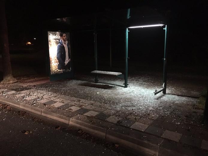 Een bushokje aan de Siependaallaan in Tiel is vrijdagavond vernield.