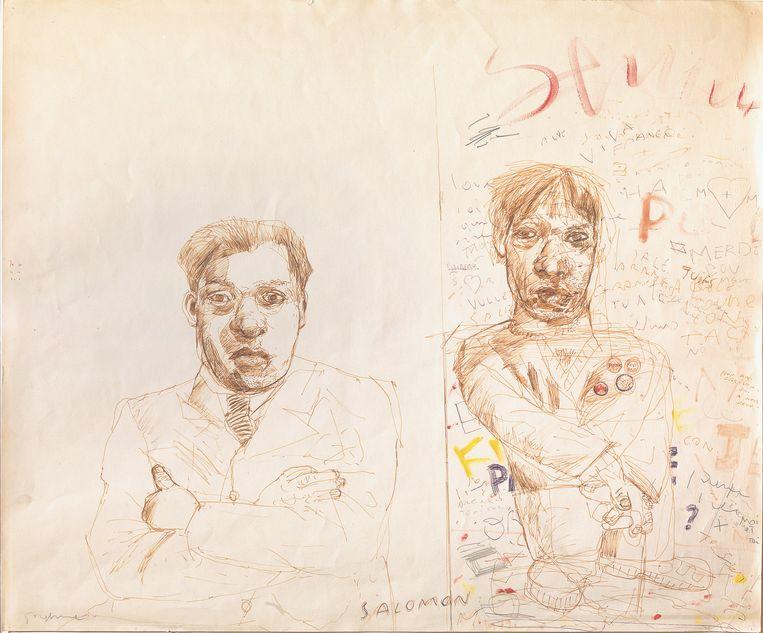'Salomon Mandelbaum en zelfportret', rond 1981.  Beeld Philippe MIGEAT