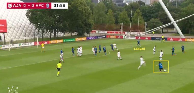 Fitz-Jim bereikt Labyad met een hoge crosspass. Beeld Screenshot Ajax TV