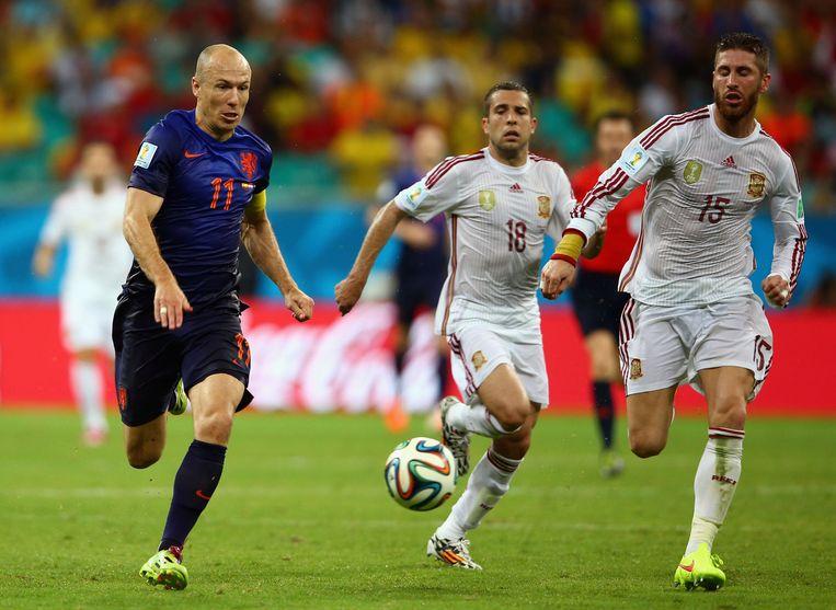 robben vs. Ramos in de sprint Beeld getty