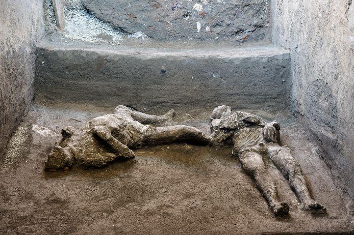 Les moulages de ce que l'on croit être un homme riche et son esclave mâle fuyant l'éruption volcanique du Vésuve il y a près de 2 000 ans, sont visibles dans ce qui était une élégante villa à la périphérie de l'ancienne ville romaine de Pompéi détruite par l'éruption en 79 après J.-C., où ils ont été découverts lors de récentes fouilles.