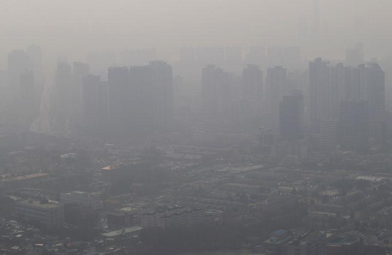 Luchtvervuiling boven Seoul, Zuid-Korea. Beeld AP