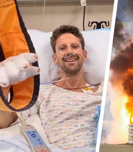 """Un terrible crash et Romain Grosjean s'en sort bien: """"Dire que je n'étais pas fan du halo"""""""