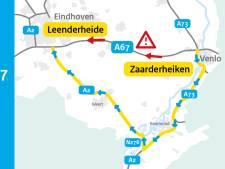A67 richting Eindhoven weer open na ongeluk met vrachtwagen