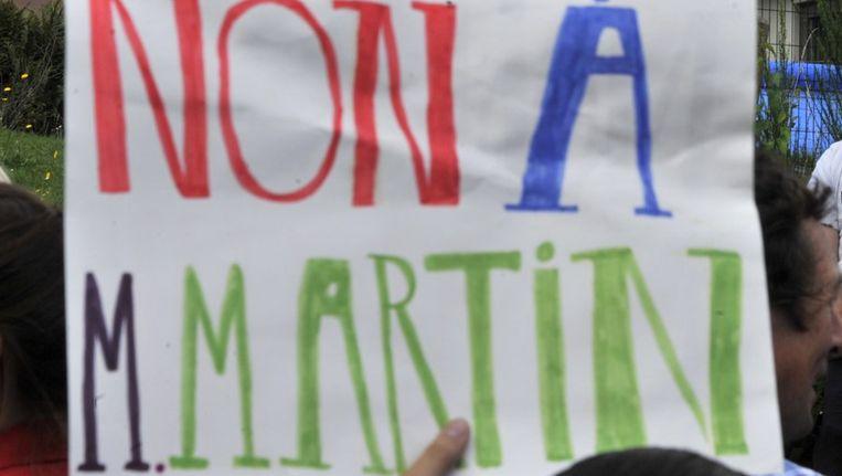 Protesten tegen de vervroegde vrijlating van Michelle Martin Beeld afp