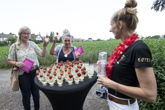 Deze Wijnpreuverinnen hadden het in elk geval uitstekend naar hun zin tijdens het toch wel 'eerste tentfeest' van de zomer in Holten.