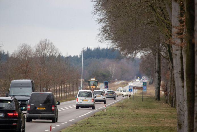 De  N224/Verlengde Arnhemseweg langs de Ginkelse Heide. Hier vinden steeds meer aanrijdingen met wild plaats.