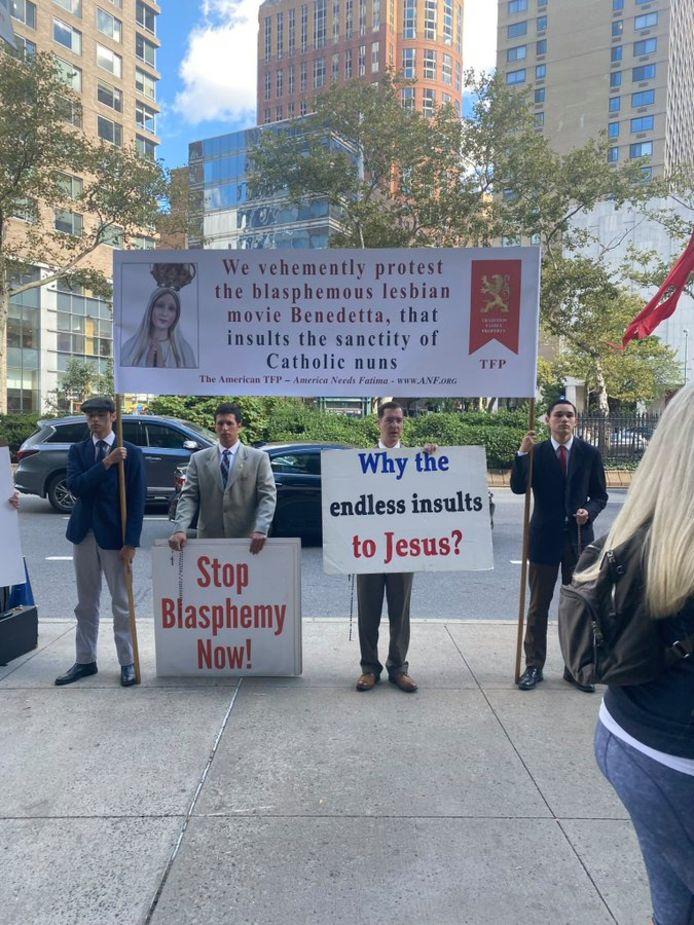 Protest Benedetta in New York.