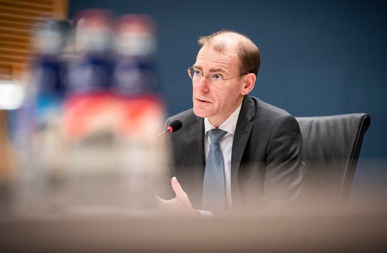 Menno Snel, staatssecretaris van Financiën van 2017 tot 2019, wordt gehoord door de parlementaire enquêtecommissie Kinderopvangtoeslag. Beeld Freek van den Bergh / de Volkskrant