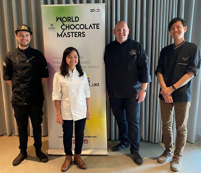 De vier Belgische topchocolatiers voor de World Chocolate Masters: Oliver Van Nueten, Quyen Le, Wim Vyverman en Togo Matsuda.