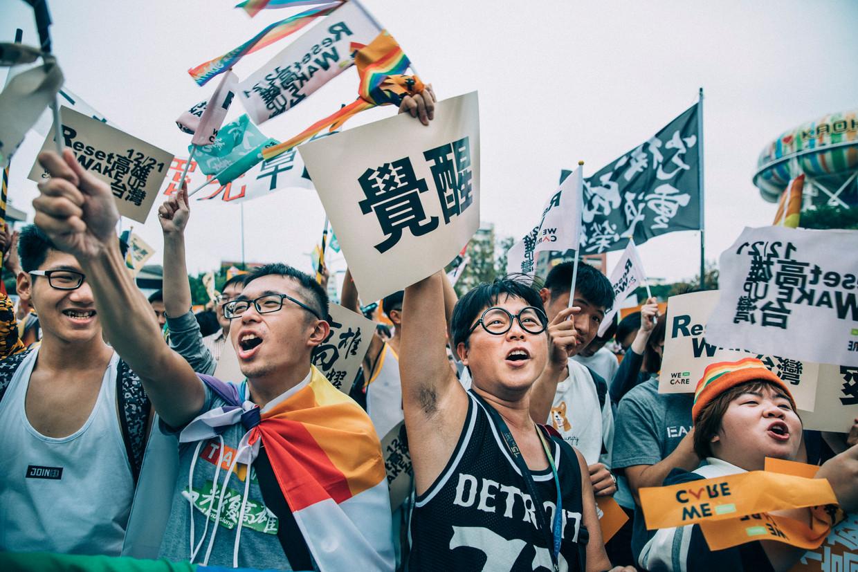 Anti-Han betogers demonstreren in Kaohsiung, de tweede stad van Taiwan. Beeld null