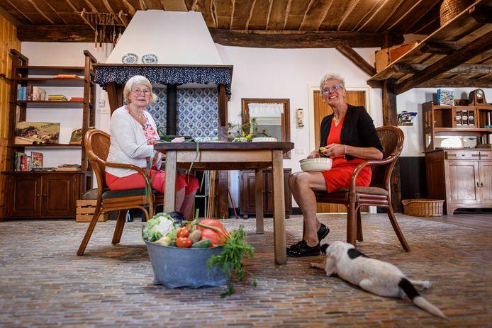 Erve Knippert heeft de voormalige varkensstal omgebouwd tot een soort Los Hoes voor individuele begeleiding van dementerende ouderen. Zorgboerin Marga Broekhuis (rechts) in het los hoes, samen met deelnemer Anneke.