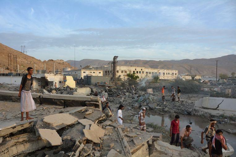 Gebouwen in puin in Al Mukalla. Beeld reuters