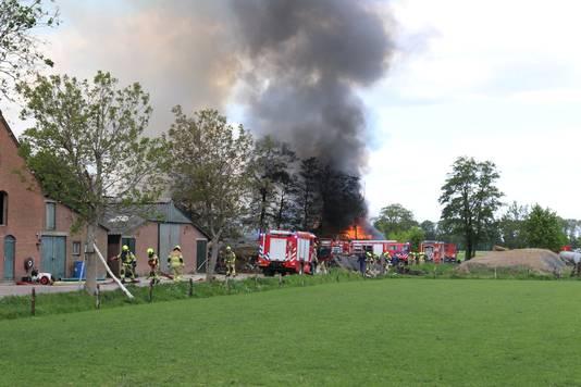 De brand in een schuur aan de Broekweg in Harskamp.