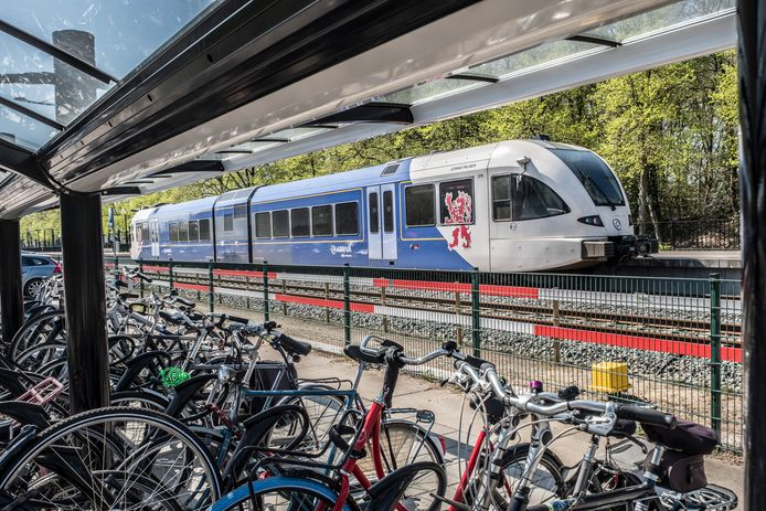 De huidige dieseltrein van Arriva op het station Molenhoek.