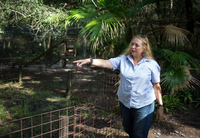 Carole Baskin in 2017 bij haar dierenopvangcentrum Big Cat Rescue.