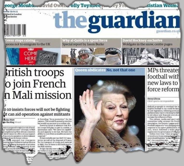 'Koningin treedt af. Nee, niet die.' De voorpagina van The Guardian verwijst naar de regeerperiode van de eigen vorstin Elizabeth II, die niet van wijken wil weten. Beeld Guardian/Thinkstock, montage DPN