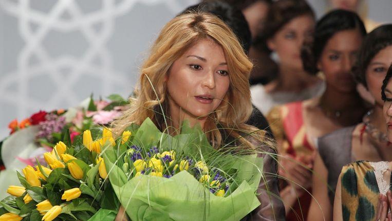 Karimova tijdens een modeshow van haar eigen merk GULI Beeld anp