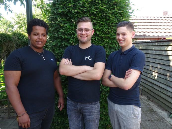 Obsa Rinders (l), Mike Gerritsen (m), Youri Woesthuis (r).