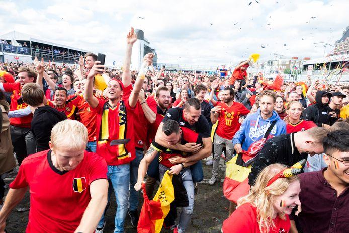 Het fandorp in Antwerpen op de Kaaien, tijdens de match België-Panama op het WK in 2018.