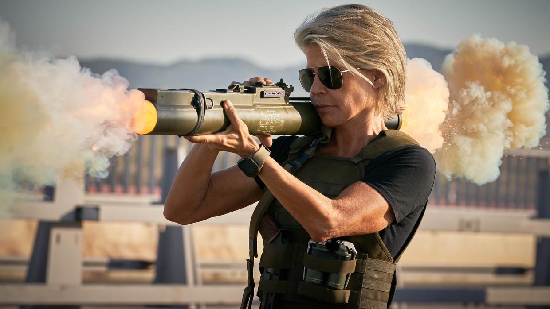 De 63-jarige Linda Hamilton keert 28 jaar na Terminator 2: Judgment Day zeer overtuigend terug als heldin Sarah Connor. Beeld -