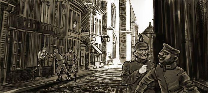 Een tekening uit de strip.