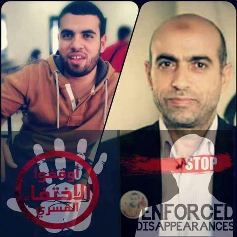 Een affiche met rechts de gearresteerde advocaat Ibrahim Metwally Hegazy en links zijn zoon Amr die in 2013 verdween. Een vereniging van families van verdwenen personen eist een eind aan de verdwijningen. Beeld RV