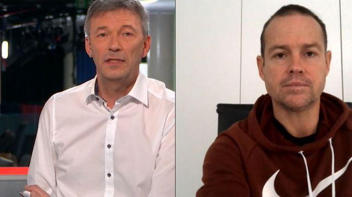 Presentator Jan Dewijngaert en Gilles De Bilde.