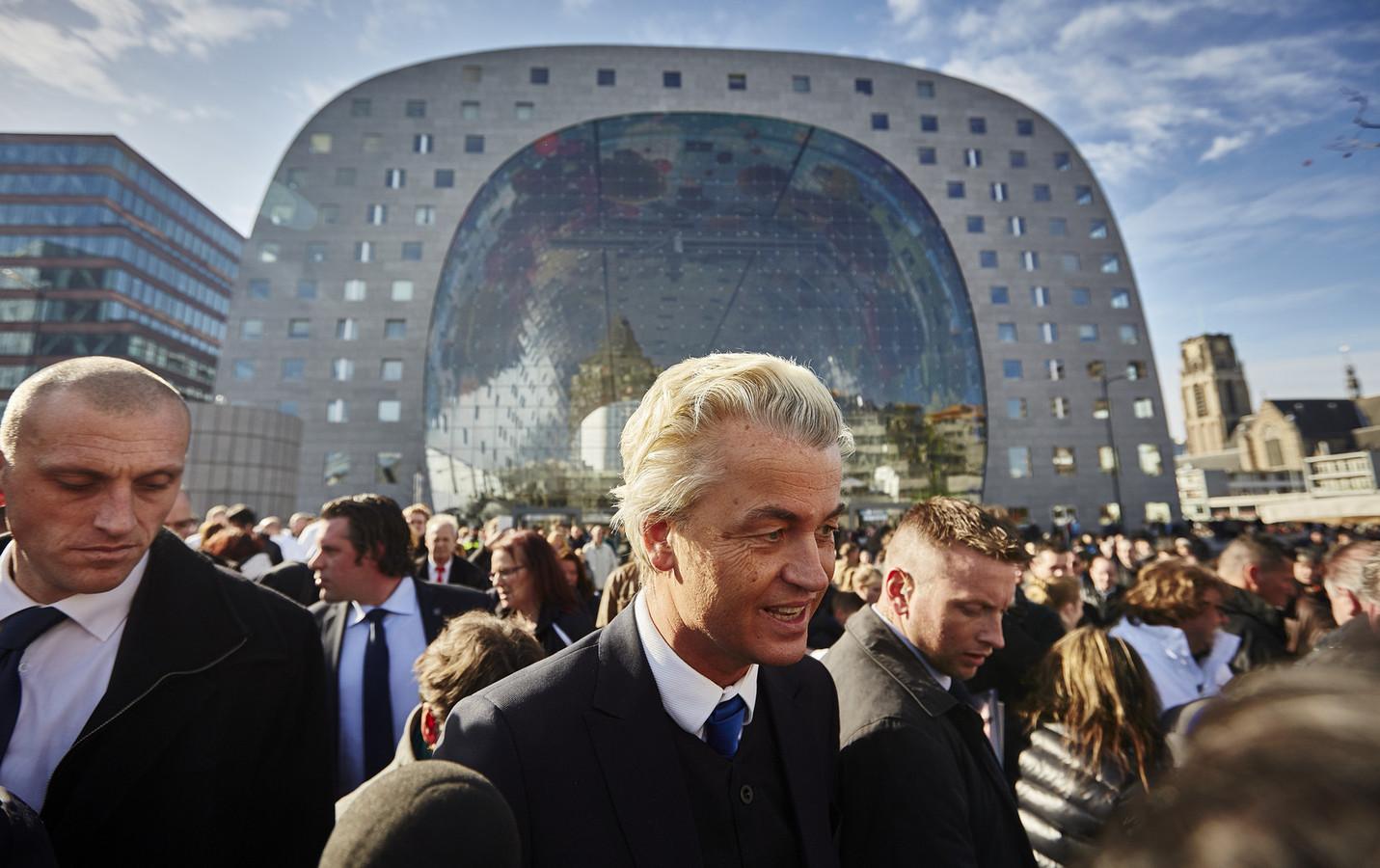 Geert Wilders op de Binnenrotte in Rotterdam.