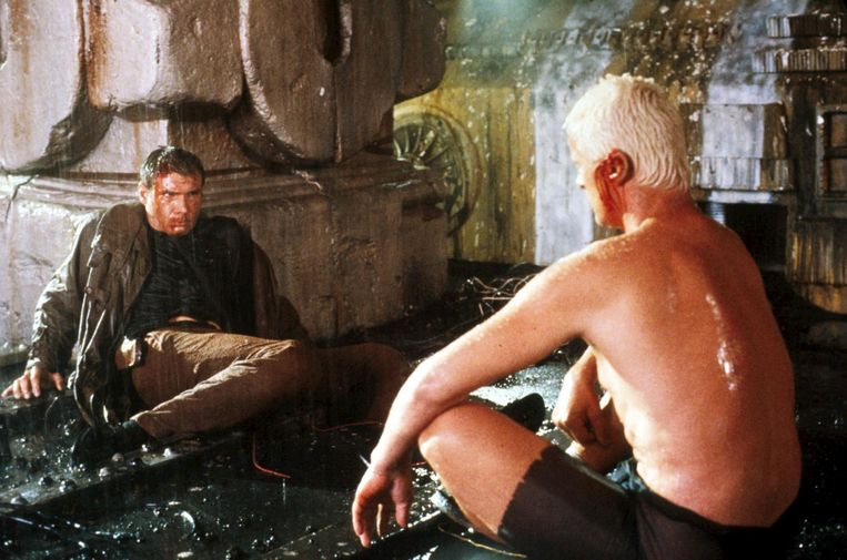 Harrison Ford en Rutger Hauer in Blade Runner in 1982 Beeld Imageselect