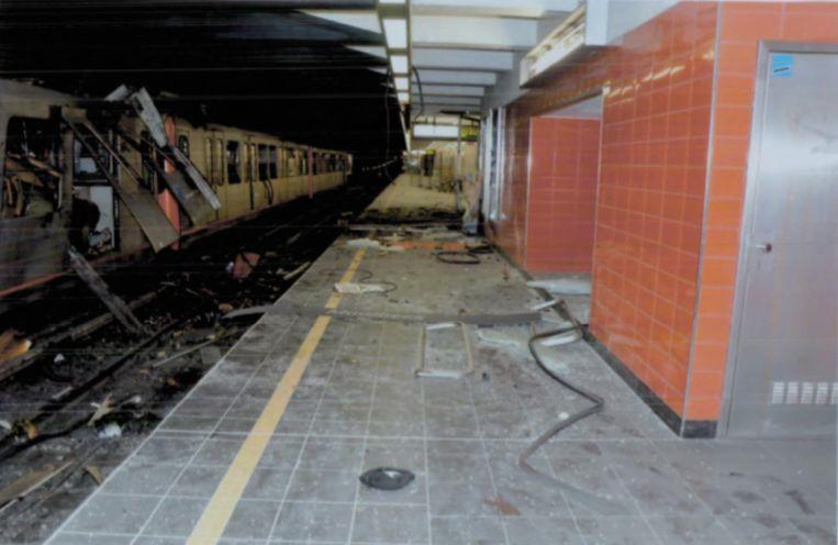 De ravage in het metrostation van Maalbeek. Beeld rv