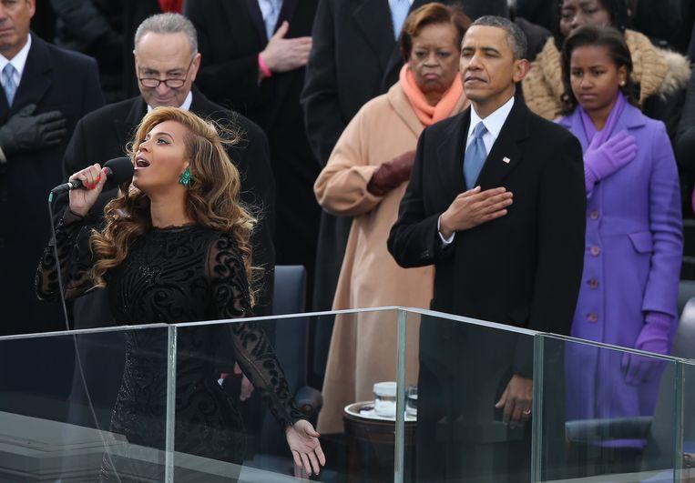Beyoncé zingt op de eedaflegging van Barack Obama, op 21 january 2013. Beeld Getty Images